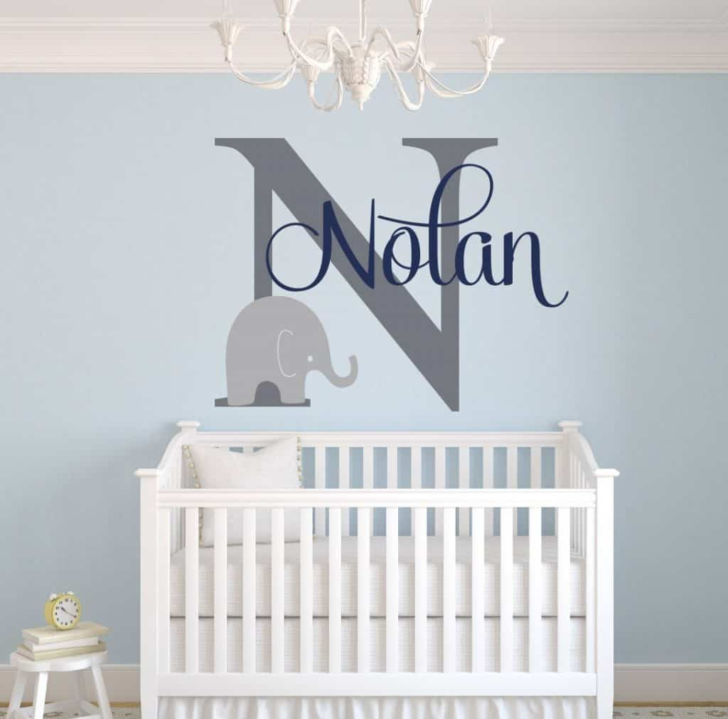 Custom Elephant Name Wall Decal for Boys