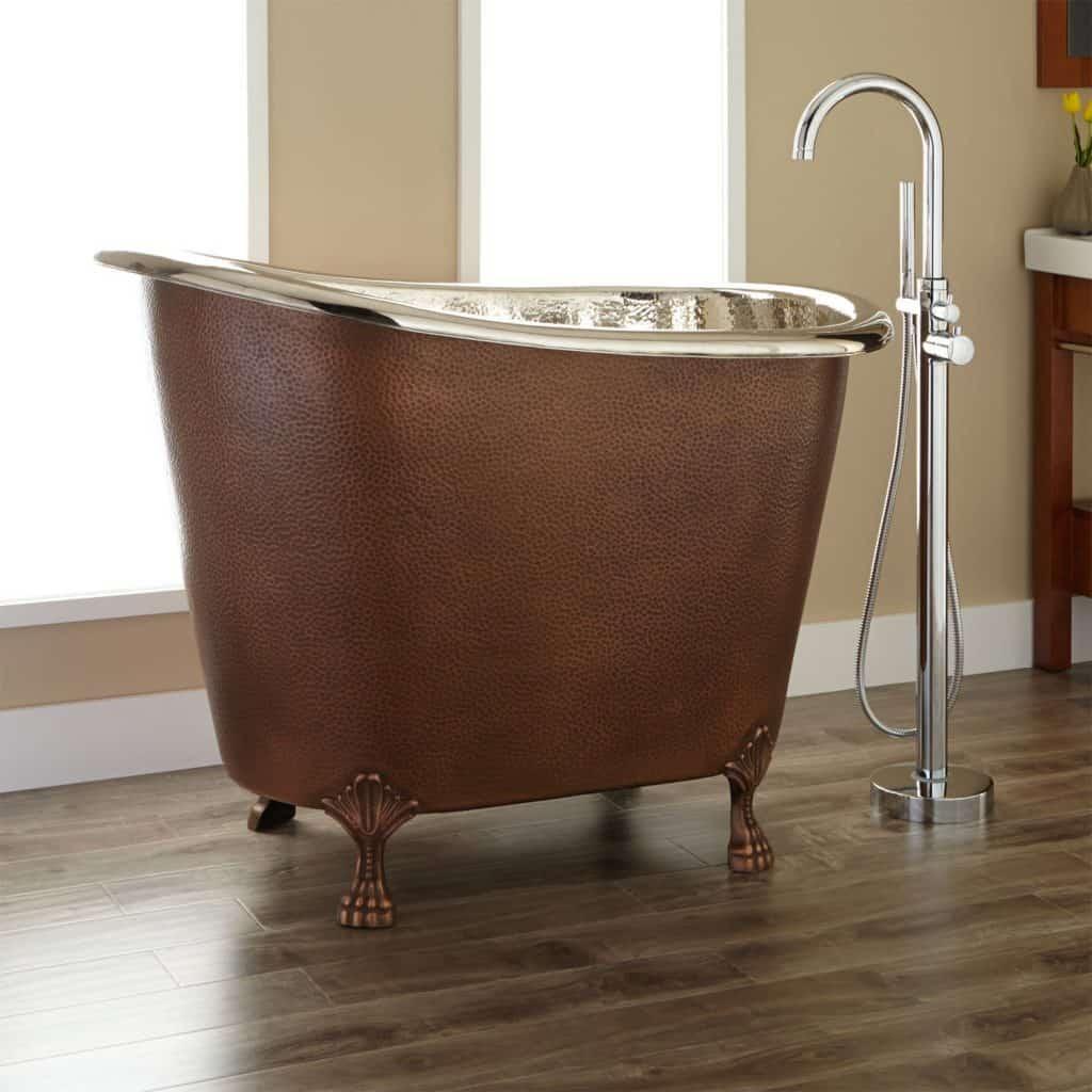 Abbey Copper Slipper Clawfoot Soaking Tub - No Overflow - Nickel
