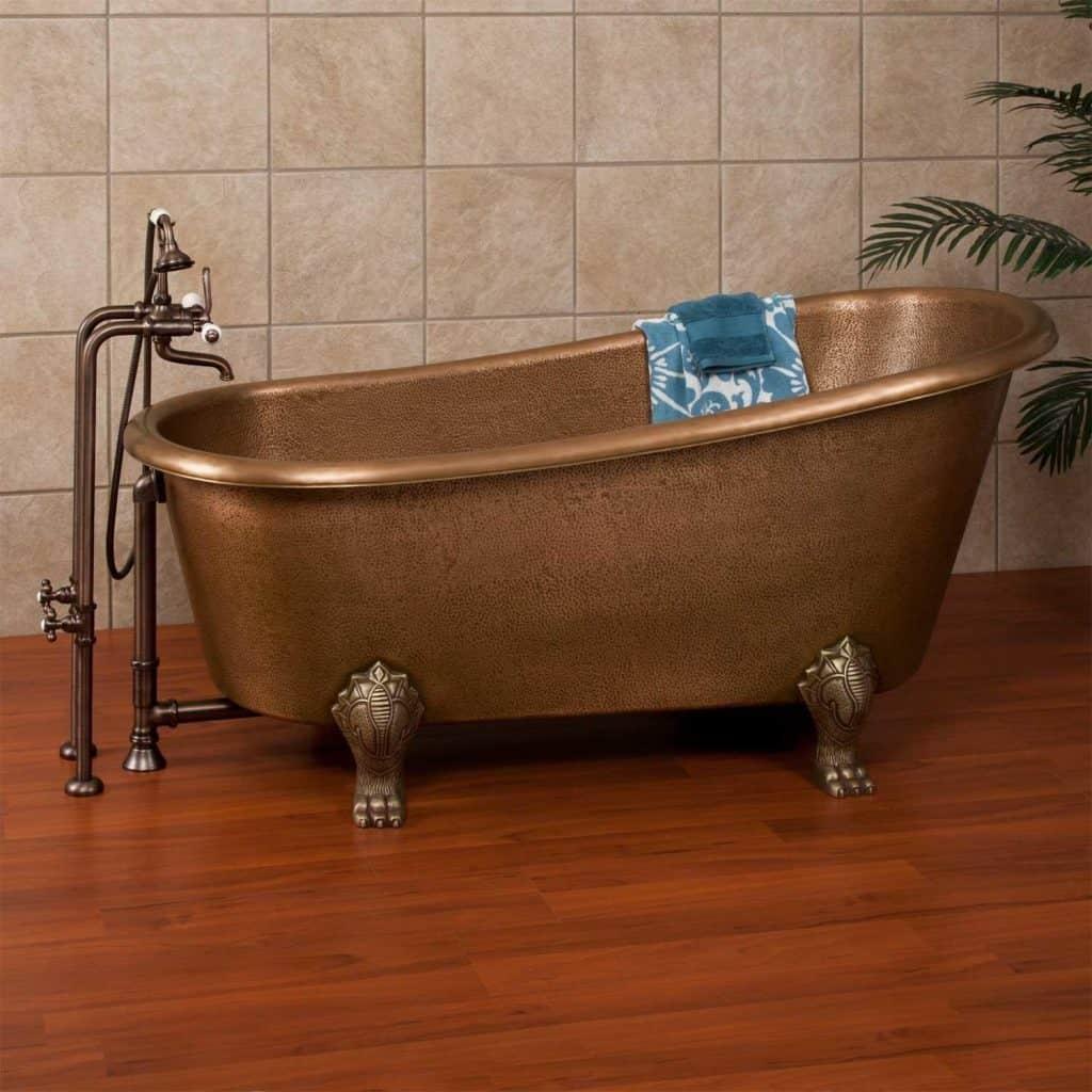 Dunlap Copper Slipper Clawfoot Tub - Overflow