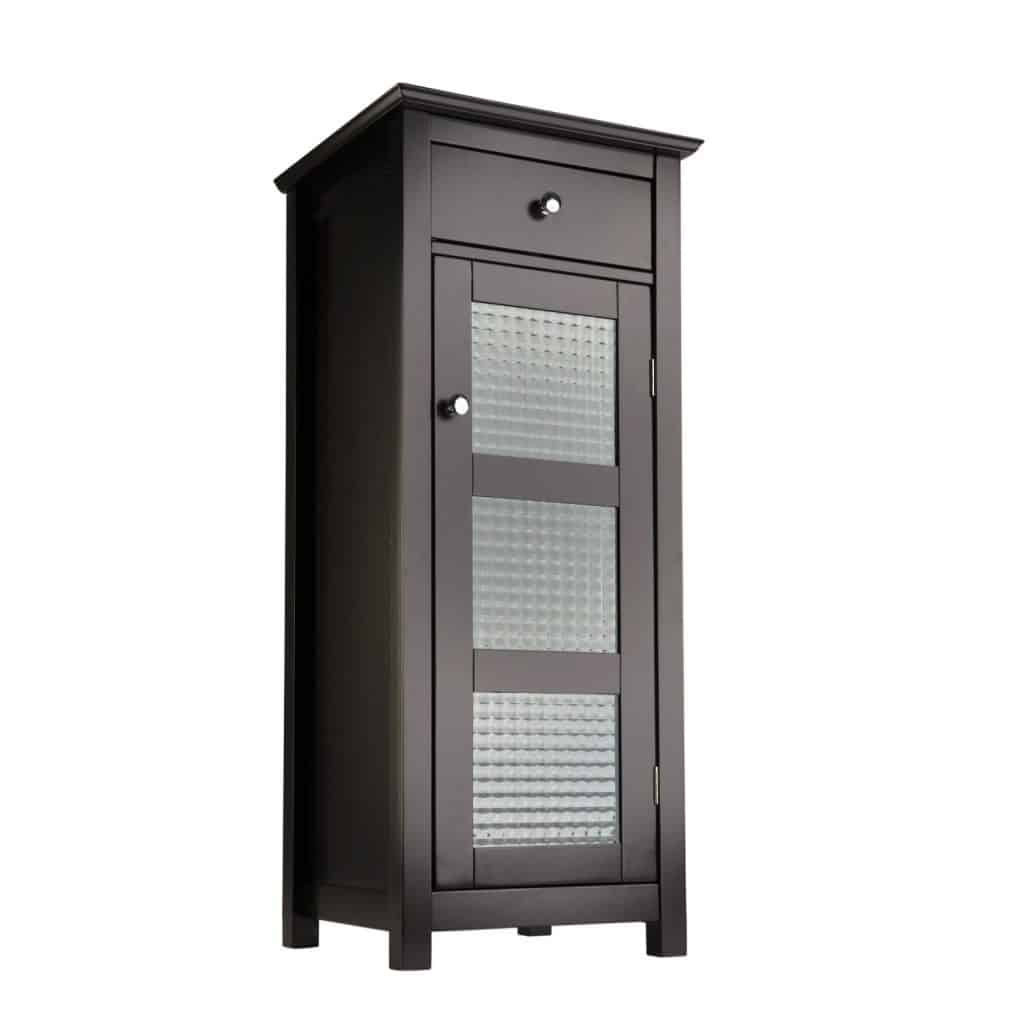 Elegant Home Fashions Chesterfield Collection Floor Cabinet with one Door and one Drawer, Espresso