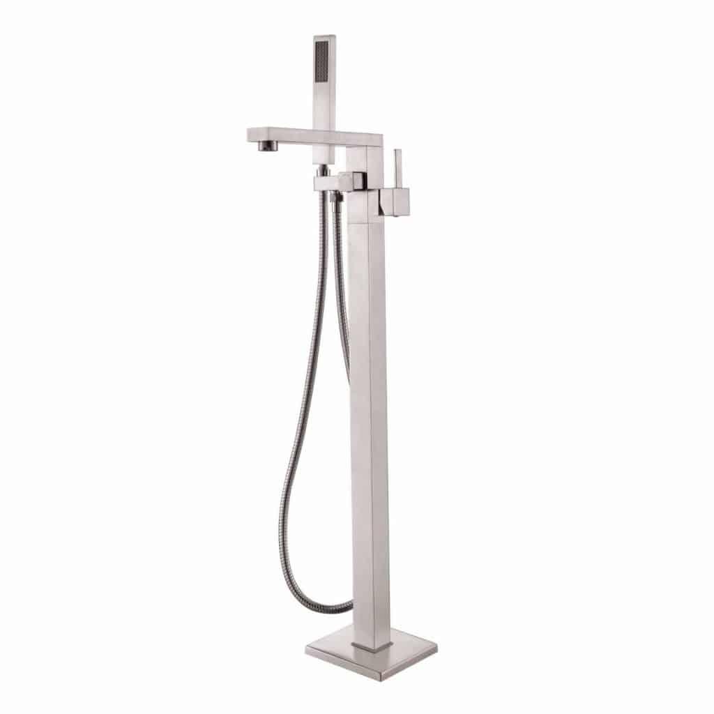 Rozinstanitary Brushed Nickel Floor Standing Bathtub Faucet with Handheld Shower