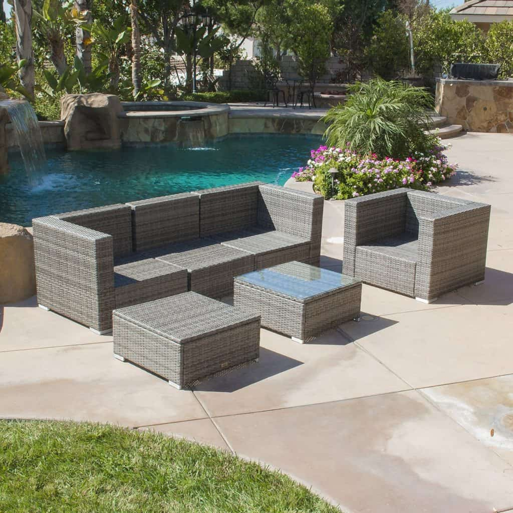 Belleze 6-Piece Outdoor Rattan Wicker Sofa Lounge Furniture