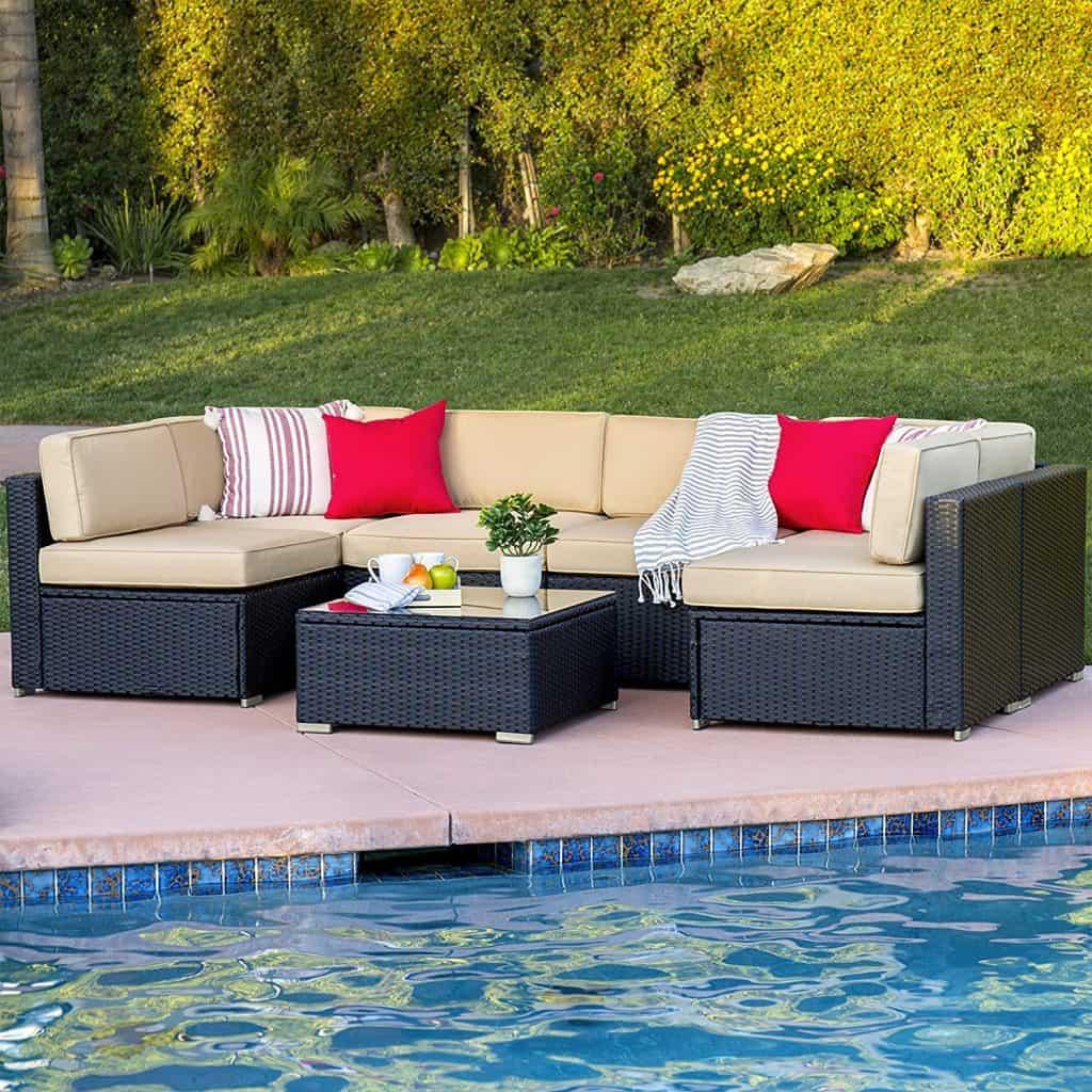 Best ChoiceProducts 7 Piece Outdoor Patio Garden Furniture Wicker Rattan Sofa Set