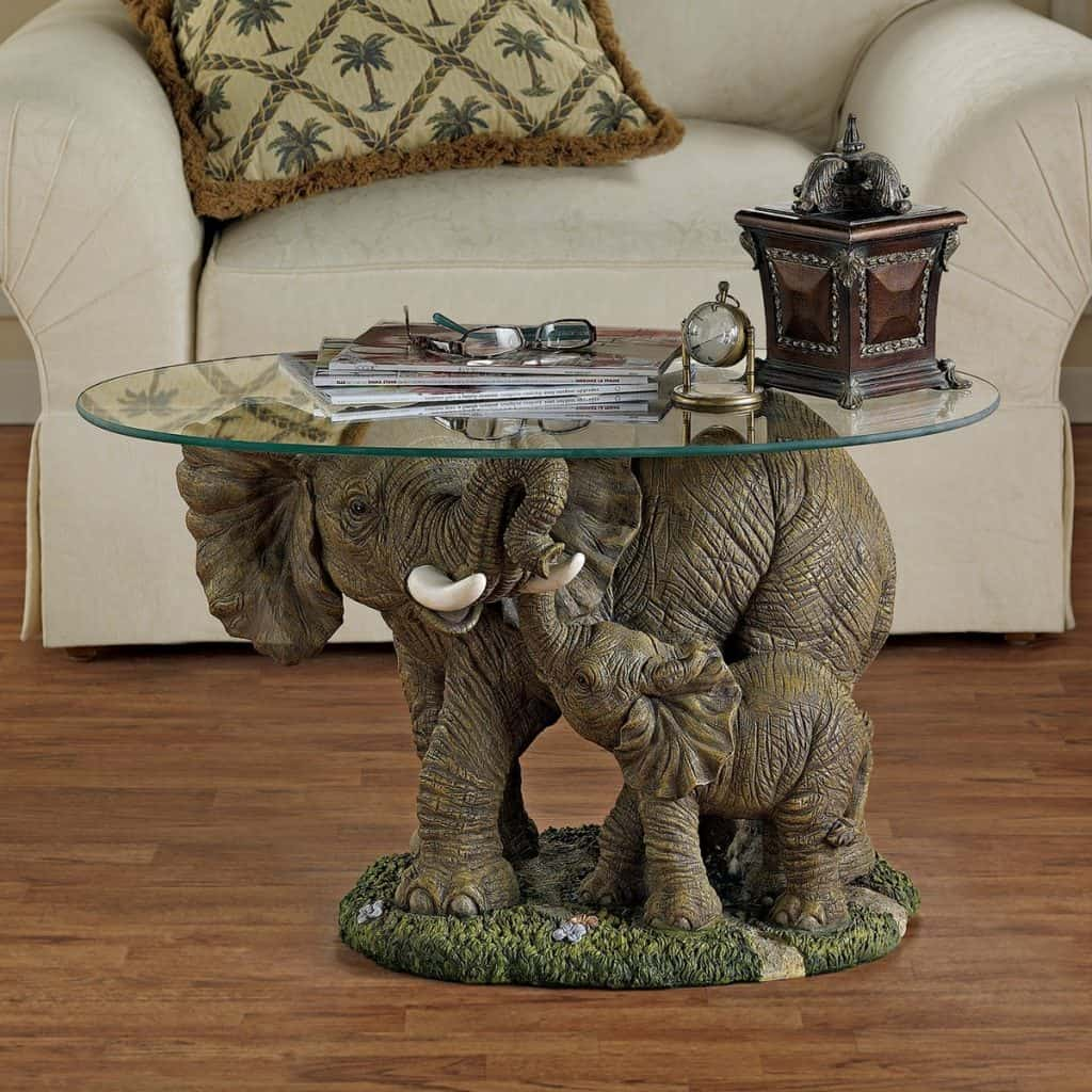 Design Toscano Elephant's Majesty Coffee Table with Glass Top