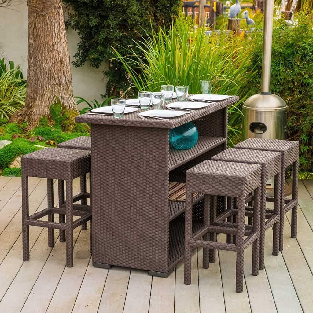 Home Loft Concept Redondo 7 Piece Outdoor Furniture Bar Set