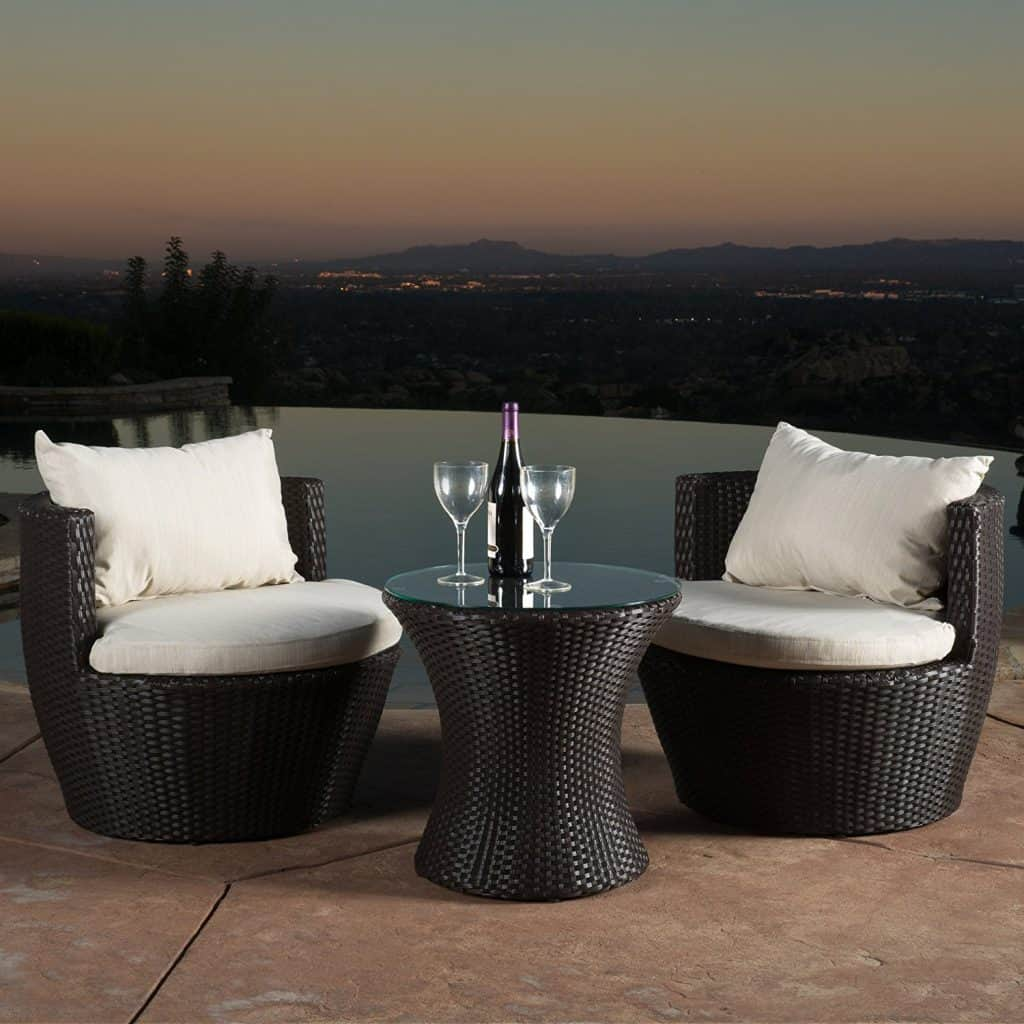 Kyoto Outdoor Patio Furniture Brown Wicker 3-piece Chair Set w Cushions