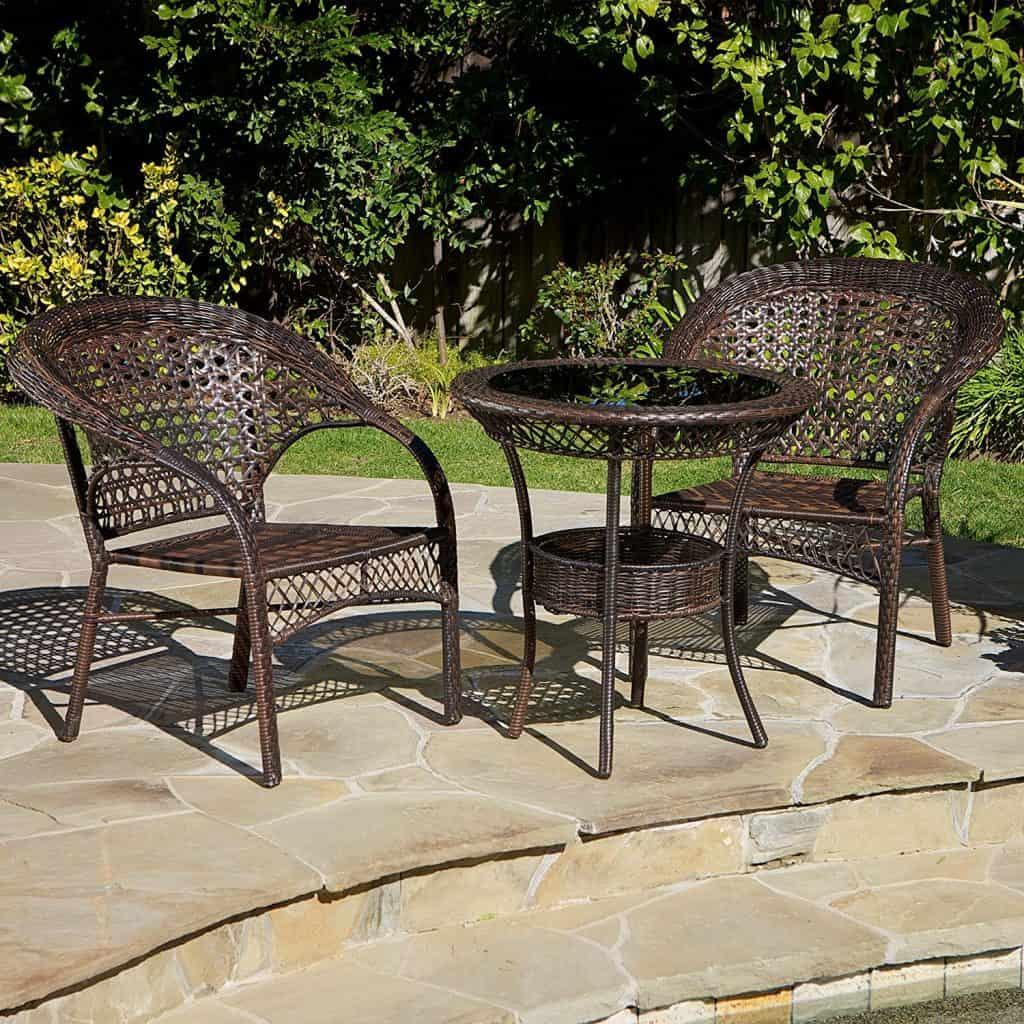Malibu Patio Furniture ~ 3-Piece Outdoor Wicker Bistro