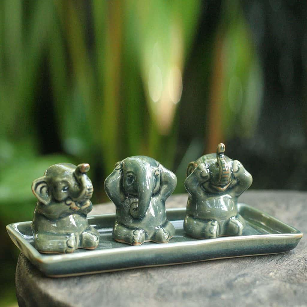 NOVICA Green Good Luck Celadon Ceramic Sculpture, 2.6 Tall 'Elephant Lessons' (Set of 3)