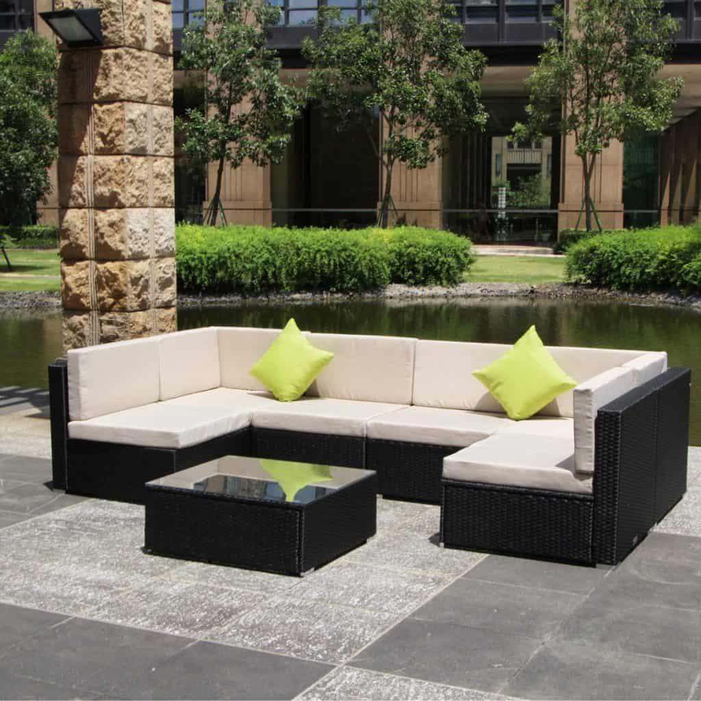 U-MAX 7 Pieces Patio PE Rattan Wicker Sofa Sectional Furniture Set