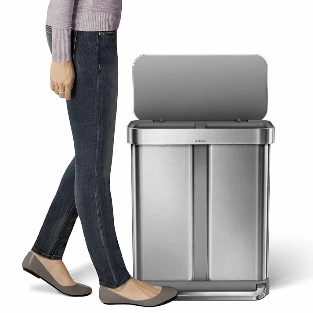 simplehuman 58 Liter15.3 Gallon Stainless Steel Dual Compartment
