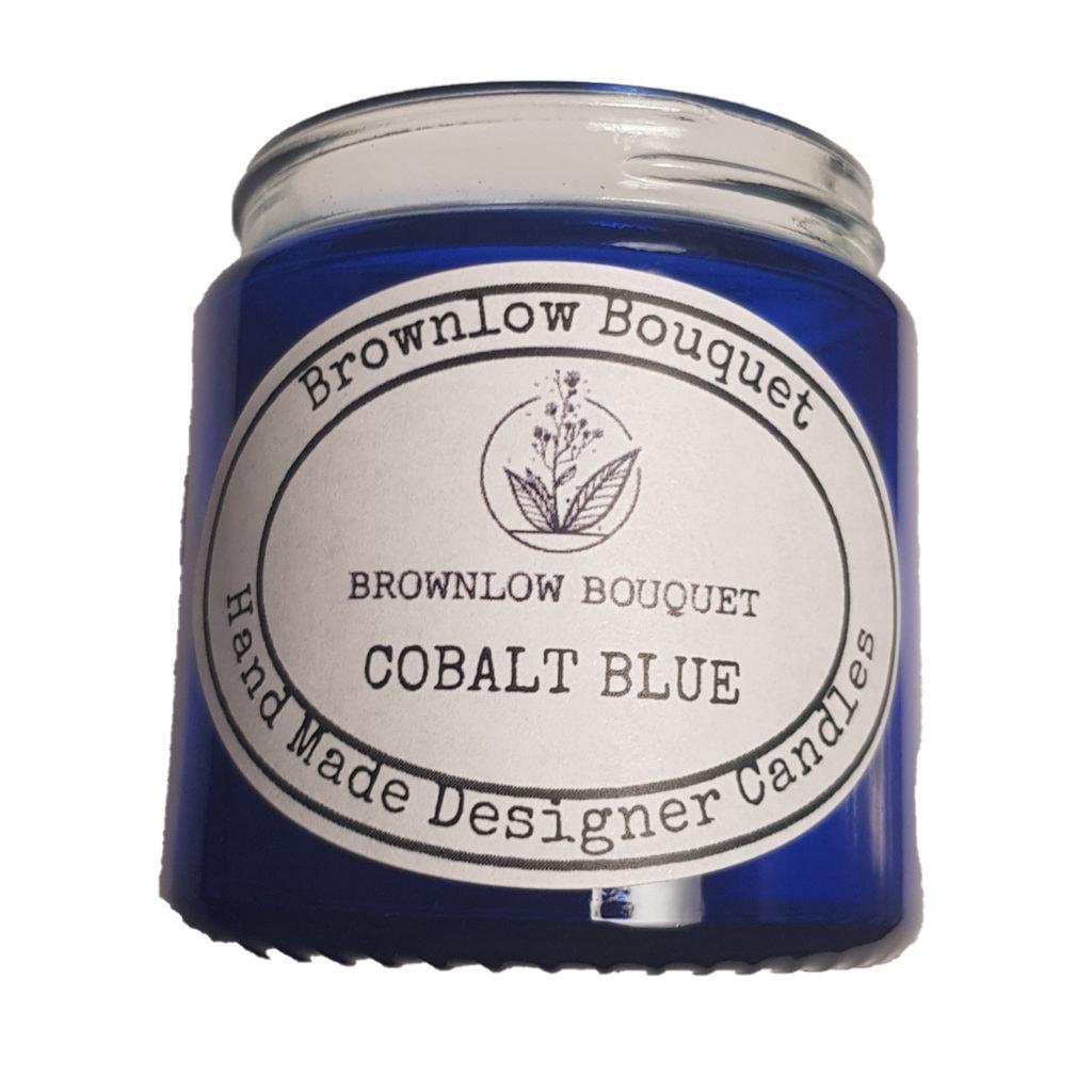 Custom Colour Translucent Gloss Cobalt Blue Jar with Label