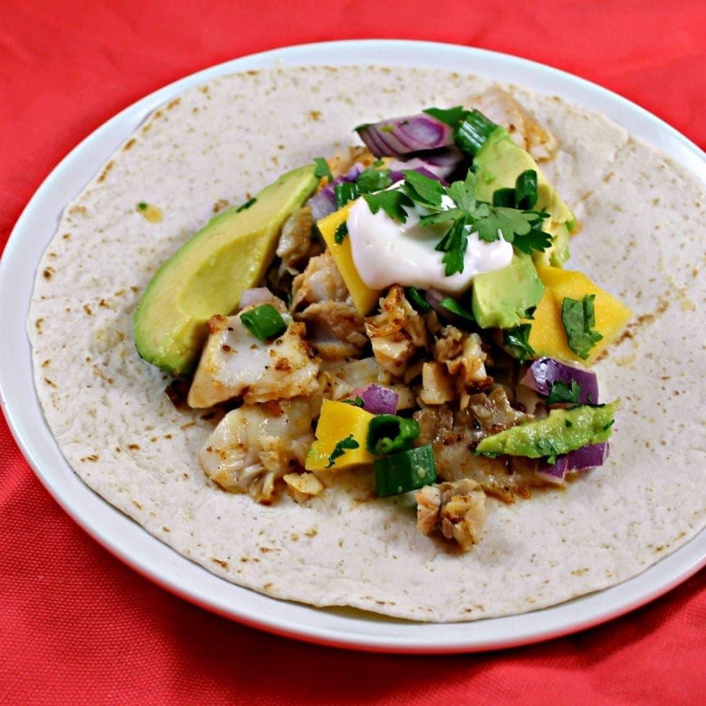 Cumin-Spiced Fish Tacos with Avocado Mango Salsa
