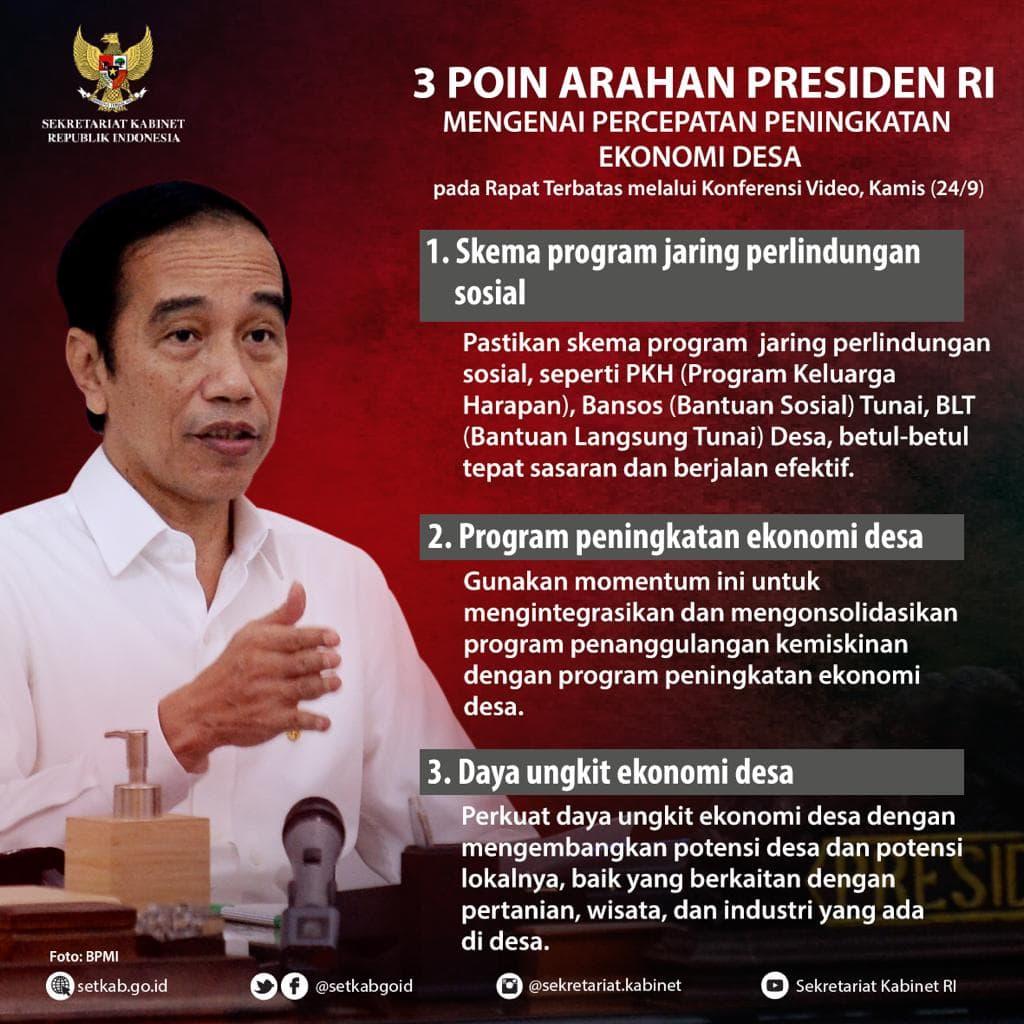 "Arahan Presiden Joko Widodo pada Rapat Terbatas terkait ""Percepatan Peningkatan Ekonomi Desa"""
