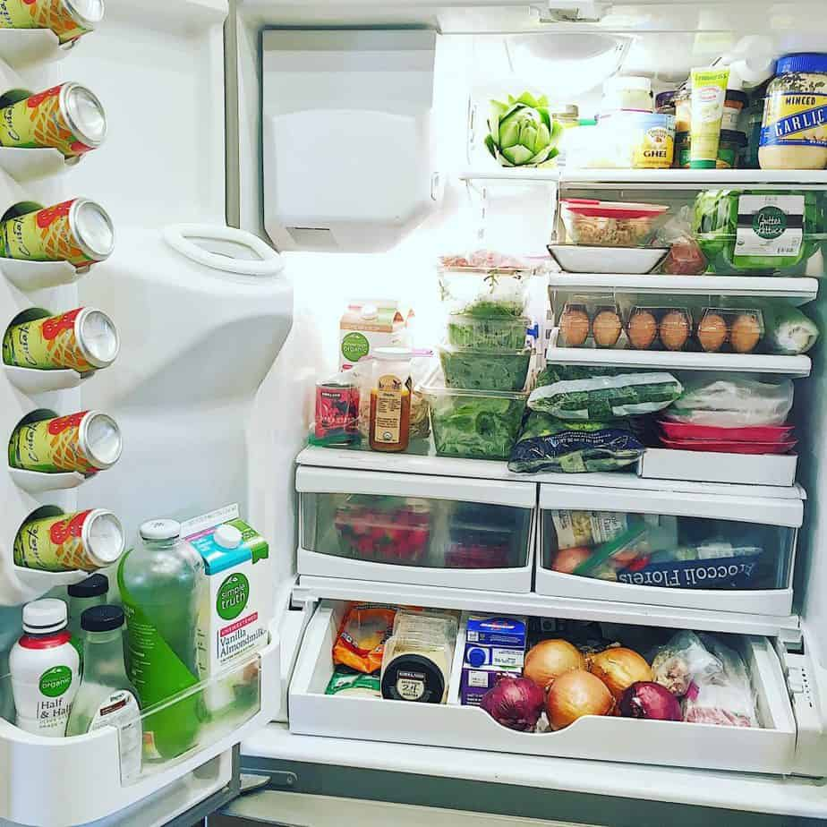A different kinds of healthy food in refrigerator
