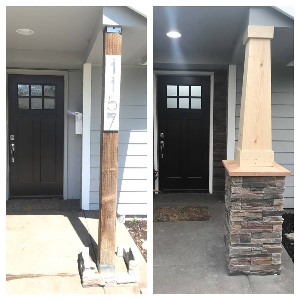 STACK OF STONES PORCH COLUMN MAKEOVER IDEAS BEFORE AND AFTER