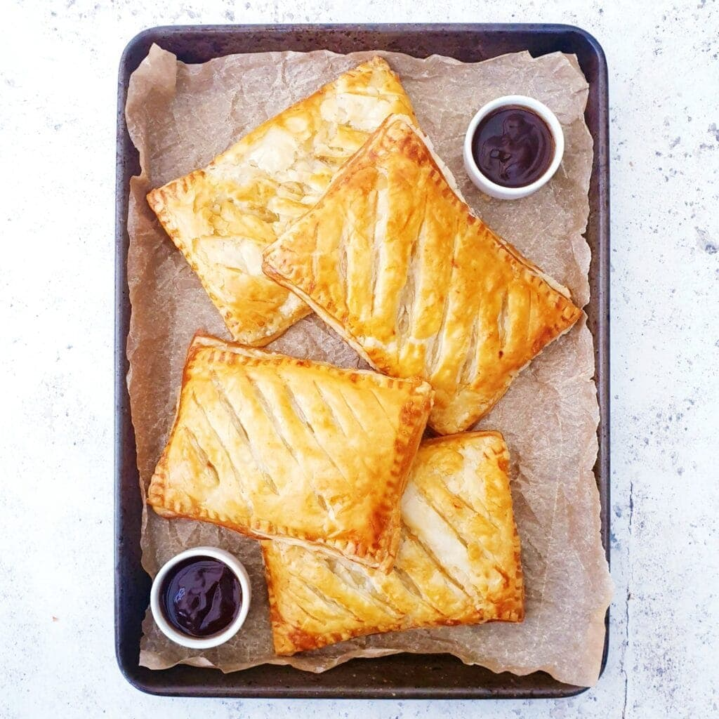steak bakes on a metal tray for the Family Favourite Meat Dishes round up