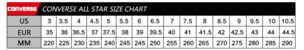 Converse Replica Shoes Converse Copy Fake AliExpress Sizing chart 1