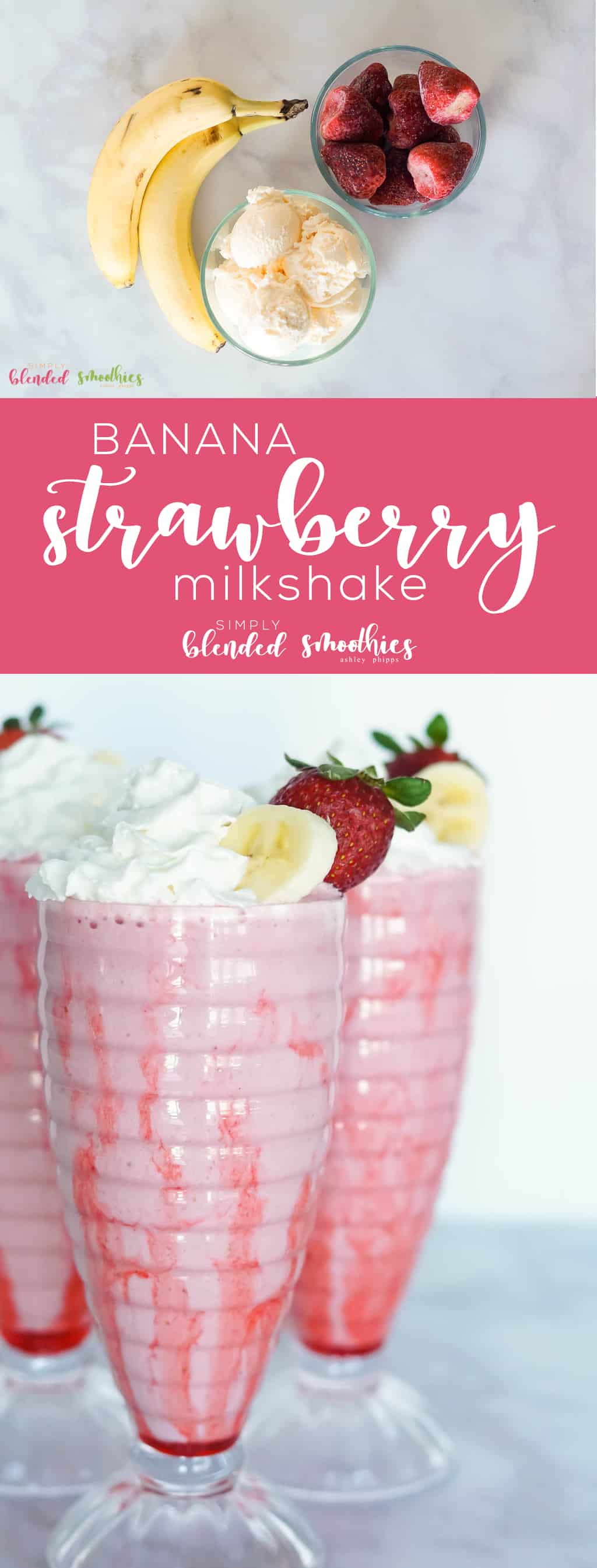 Strawberry Banana Milkshake - this delicious and simple to make milkshake is a delicious treat the whole family will enjoy