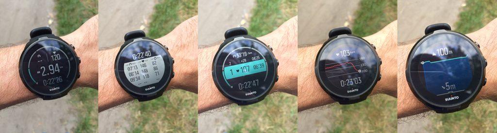 Экраны Suunto Spartan Wrist HR во время беговой тренировки
