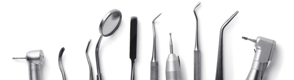 Dentist equipment laid out flat