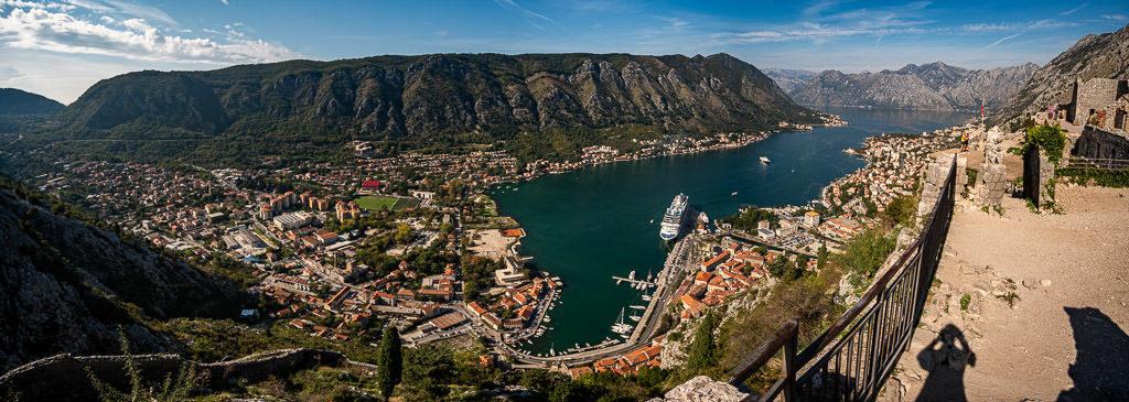 Panoramic photo of Kotor and Kotor Bay from Kotor Fortress after hiking the Kotor City Walls