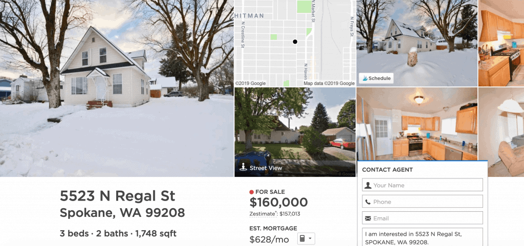 A home for sale (as of 02-2019) in Hillyard, Spokane, WA.