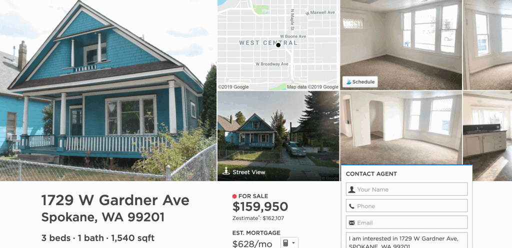 A home for sale (as of 02-2019) in West Central, Spokane, WA.