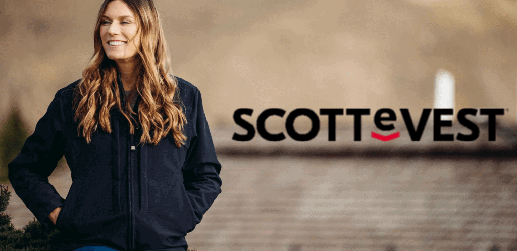 Woman with long hair models SCOTTeVEST , a travel jacket with hidden pockets