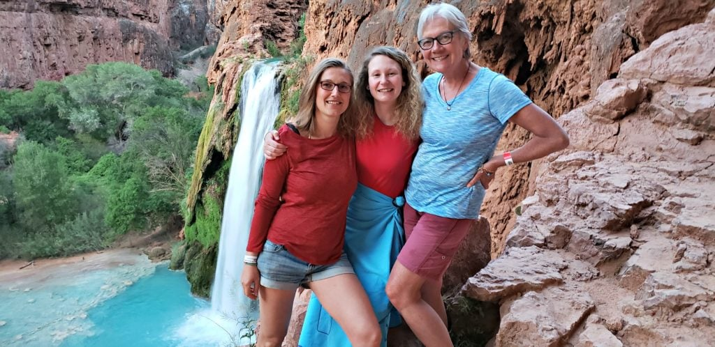 Stacey with Charlotte and Claire overlooking Havasu Falls