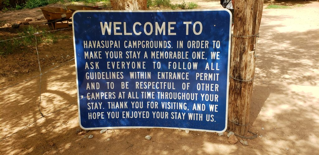 Sign reading: Welcome to Havasupai Campgrounds