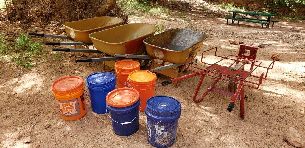 Wheel barrows and buckets await Havasupai Falls campers