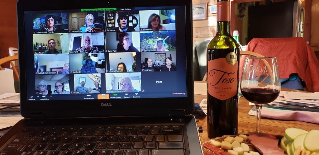 UNSTOPPABLE Stacey's laptop shows Zoom webinar of 16 wine writers discussing World Malbec Day