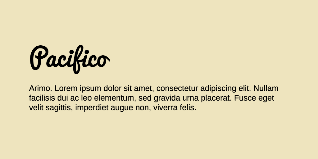 Pacifico & Arimo font combination