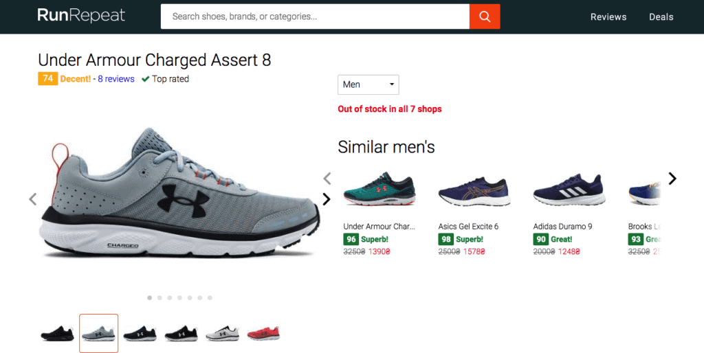 Under Armour Charged Assert 8 на Runrepeat