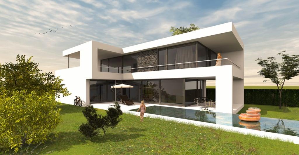 L-Form Haus mit Flachdach