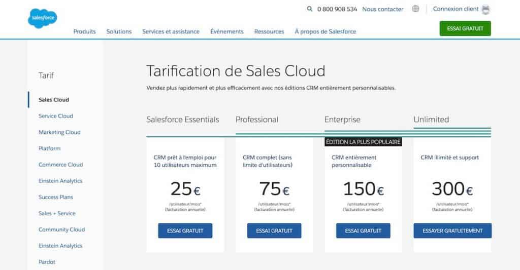Pricing SalesForce cloud