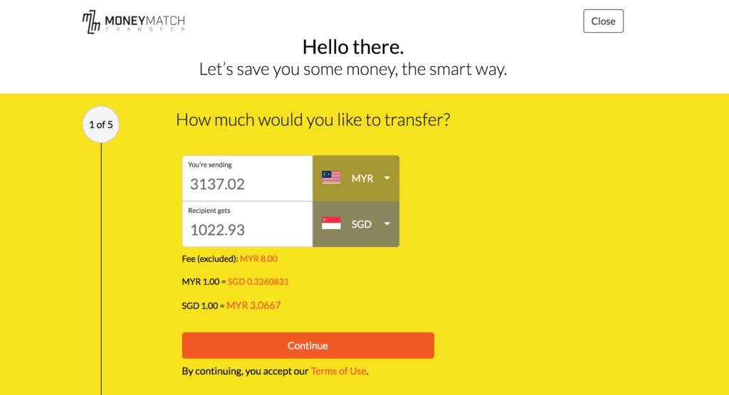 transfer money from malaysia to singapore using MoneyMatch
