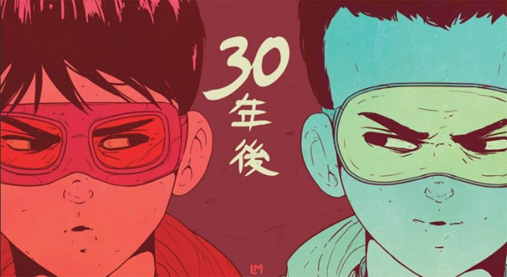 Poster de akira, con Kaneda y Tetsuo, motoristas.