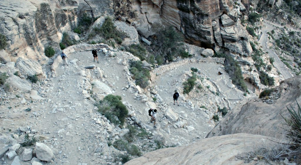 Switchbacks from above on a steep section of the Havasu Falls trail