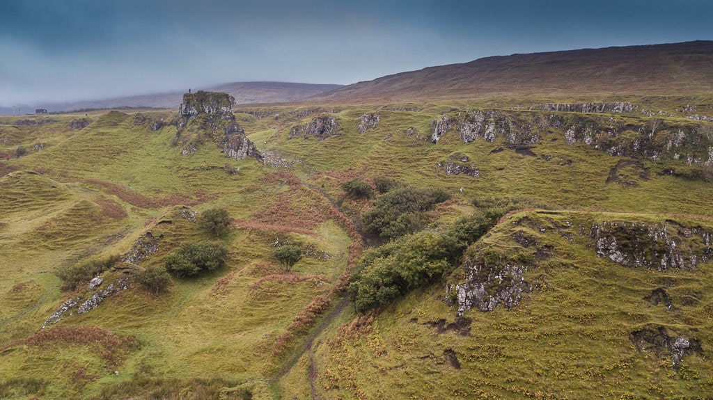 Serene and perfect landscape at Fairy Glen in the Isle of Skye in Scotland