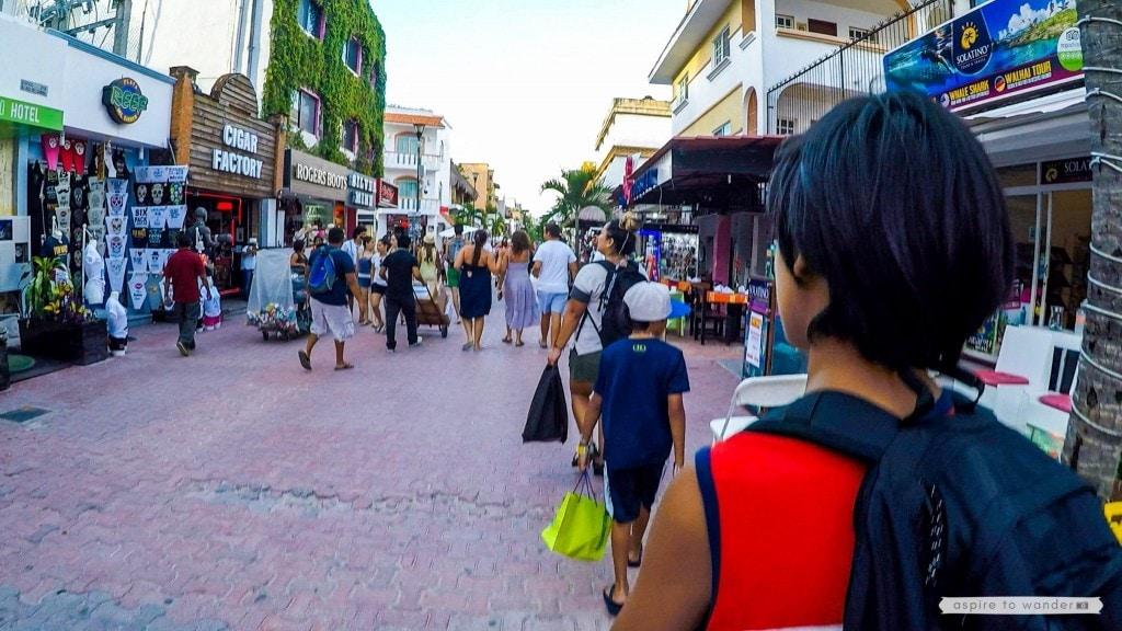 Walking along Playa Del Carmen's 5th Avenue