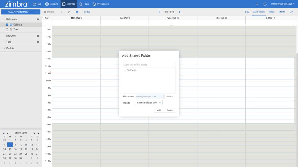 Zimbra share calendar find folder
