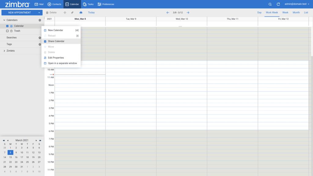 Zimbra share calendar