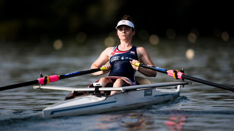 A girl has a rowing training