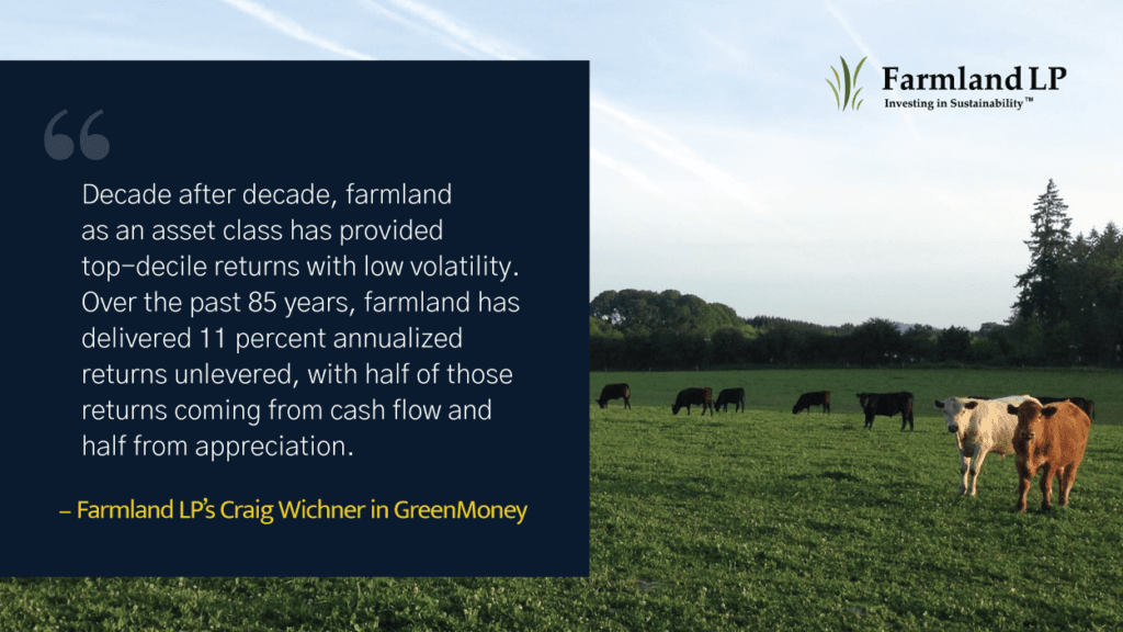 Graphic with background picture of cows grazing in a pasture and a quote by Farmland LP's Craig Wichner on the left hand side.