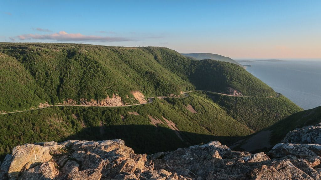 The Cabot Trail curving around the mountain as seen from the Skyline Trail