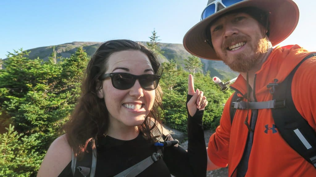 Selfie before we started our hike up the rock gully