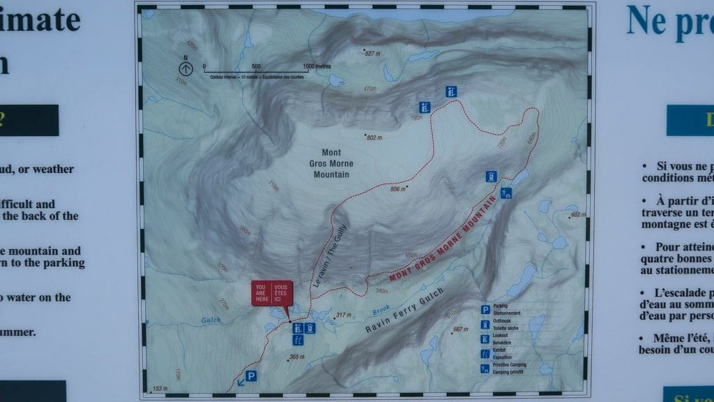 Map of the Gros Morne Mountain Loop trail
