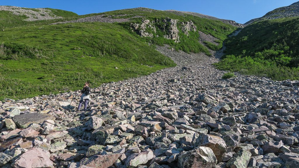 Brooke hiking up the rock gully during our hike to the summit of Gros Morne Mountain