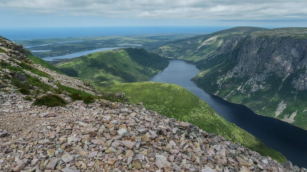 Fjord view from the top section of Gros Morne Mountain